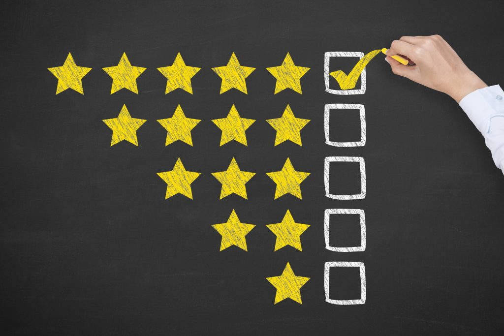 Rating Five Golden Stars on Blackboard