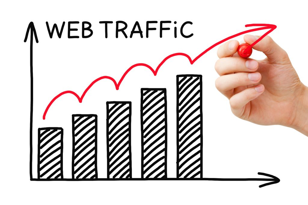 Hand drawing Web Traffic graph concept with marker on transparent wipe board..