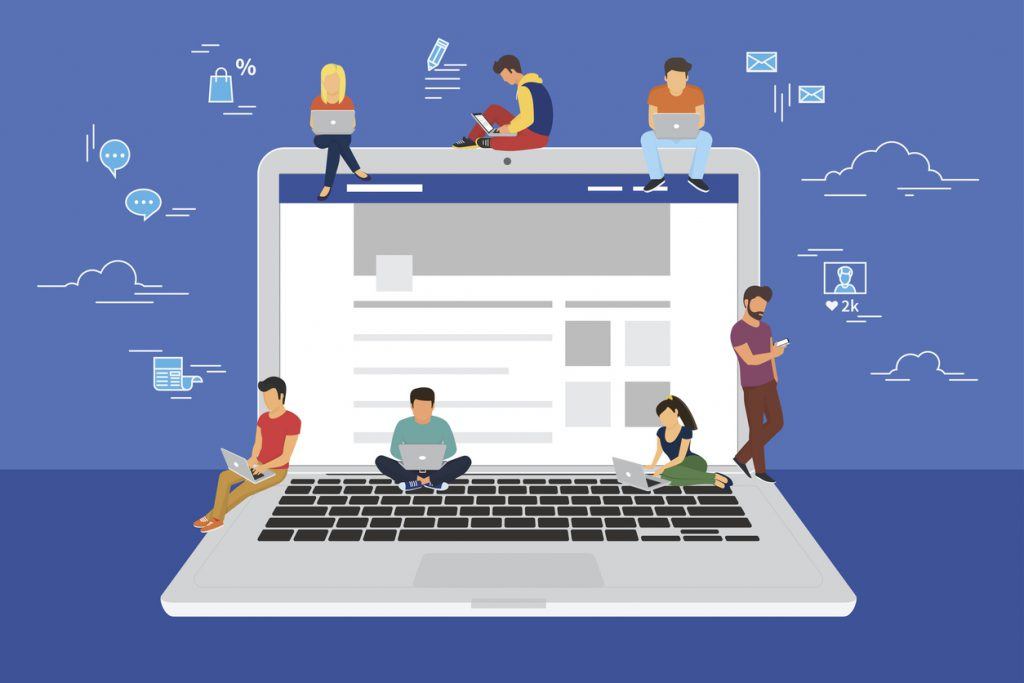 Social network web site surfing concept illustration