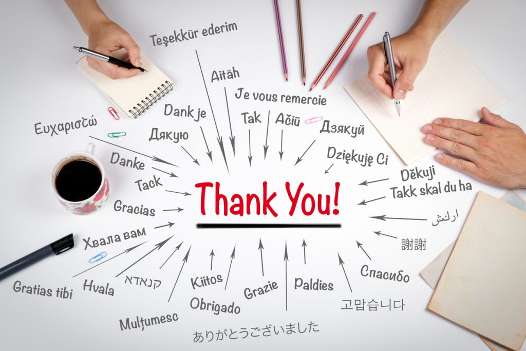 Thank You in different languages of the world. The