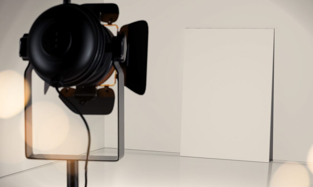 Searchlight gives light on white canvas, 3d rendering