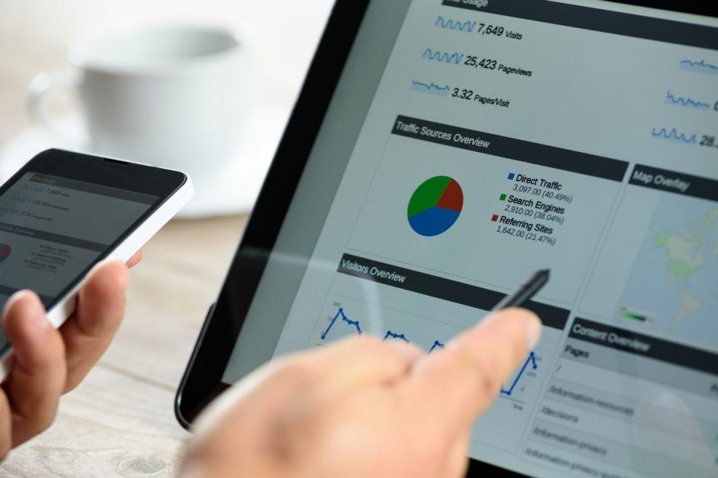 Modern digital marketing on the tablet