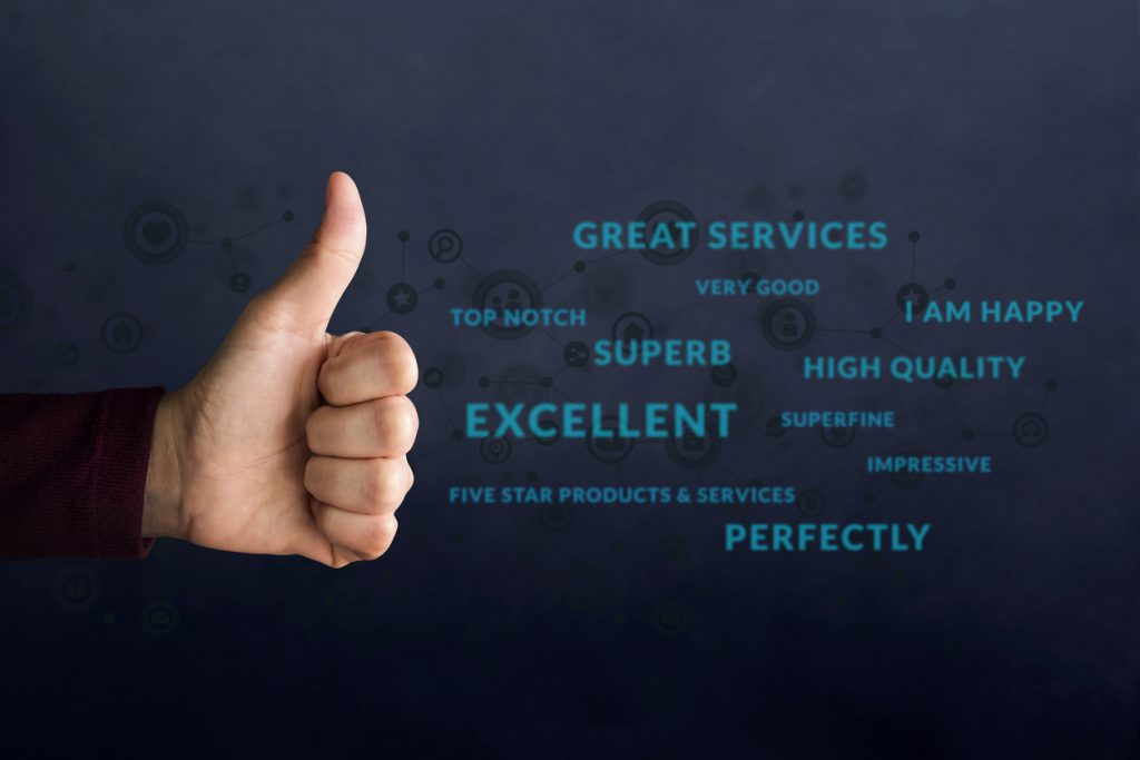 "Customer Experience Concept. Happy Client show Thumb Up in meaning ""Great"" over Positive Reviews and Social icons. Best Excellent Services for Satisfaction Survey Online"