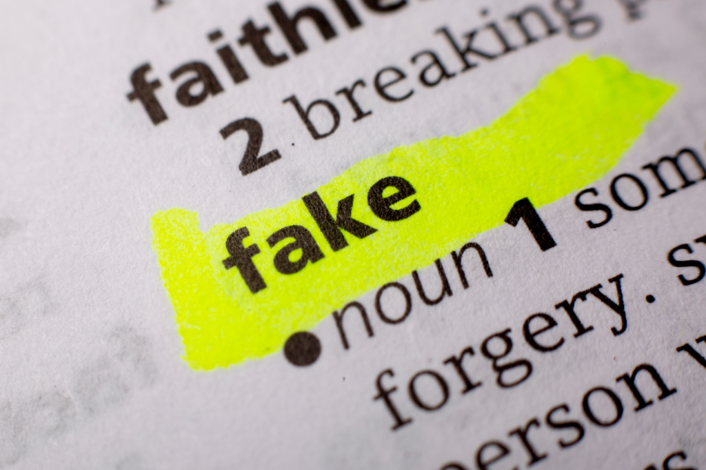 Definition of fake in the dictionary, highlighted in yellow highlighter